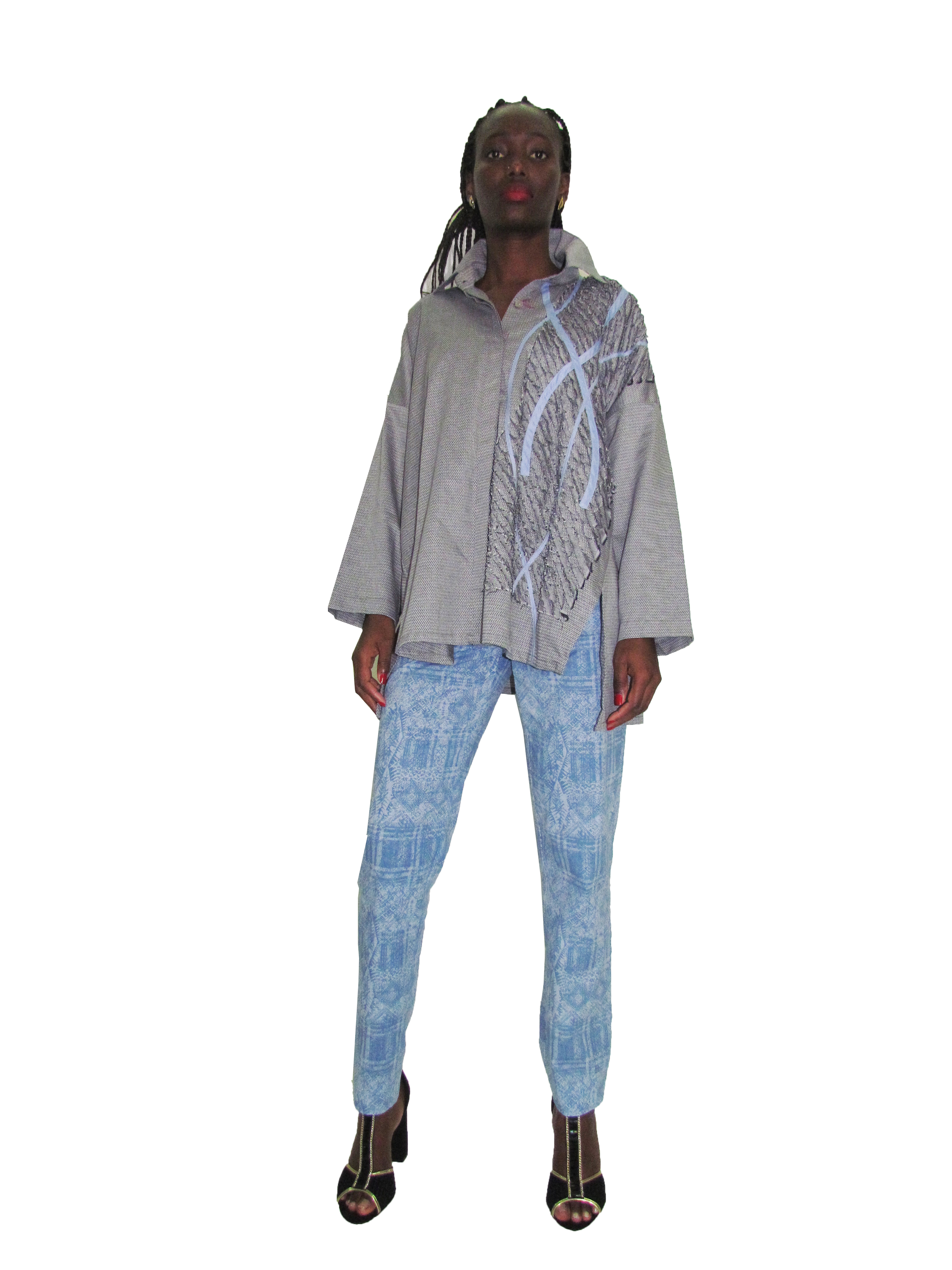 SP 1729 - Collaged Oversized Shirt | SP 1730 - Skinny Pants