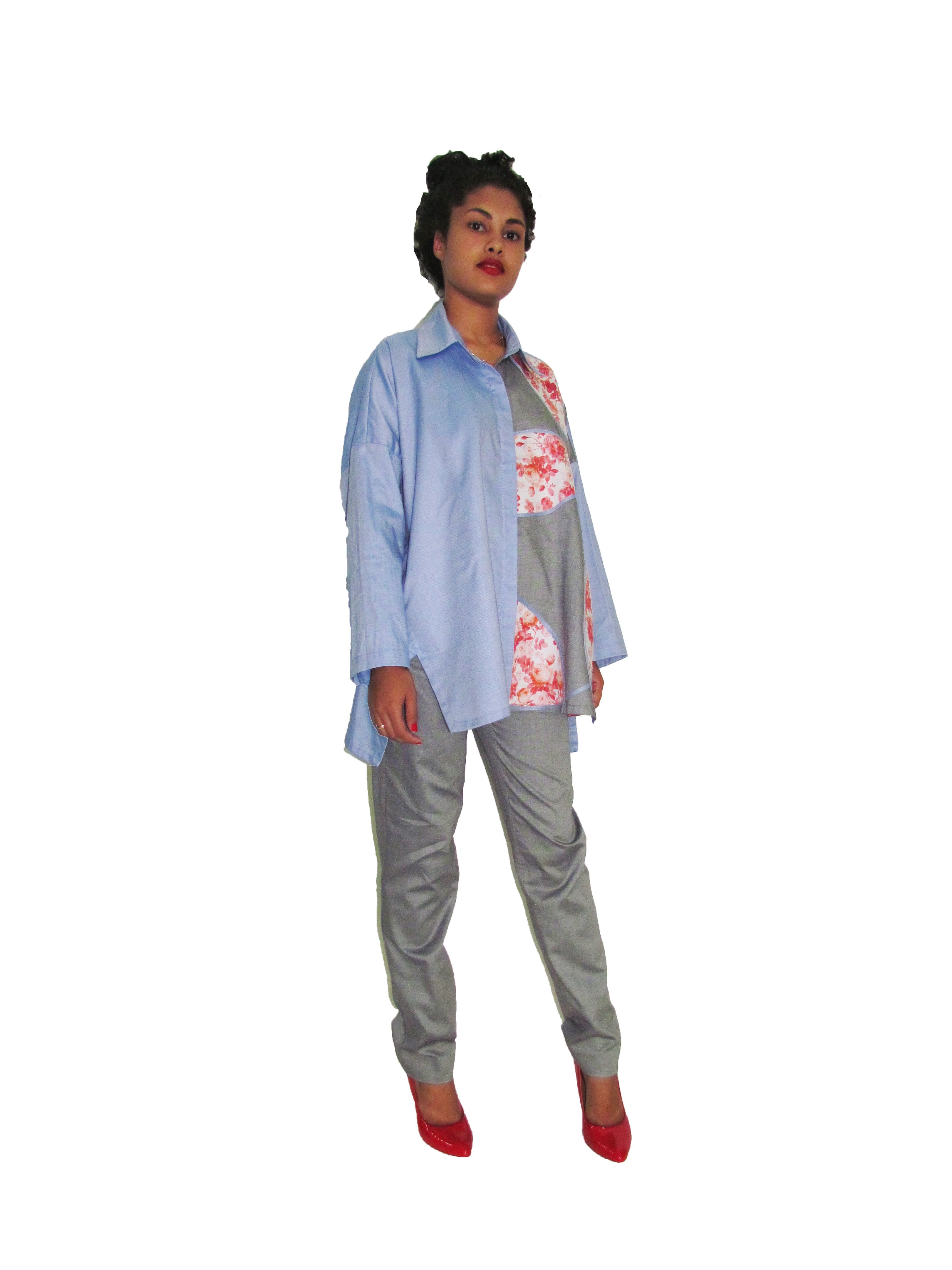 SP 1743 - Collaged Oversized Shirt                         SP 1744 - Strainght Legged Pant